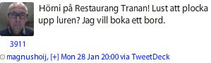 Magnus Höij tweet om att boka bord